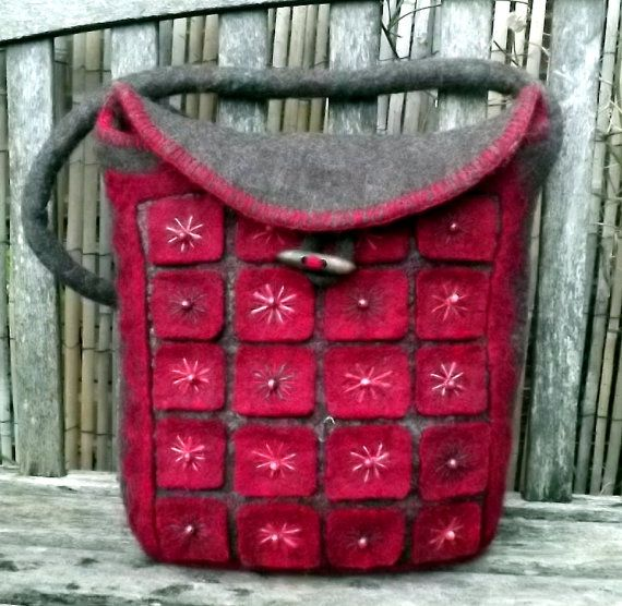 Geometric Large Felt Hand Bag A Mix of Mohair and от BaBaaBagChic