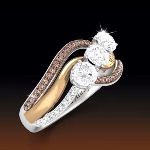 Fashion Women 925 Silver Ring White Topaz Flower  Wedding Proposal Gift Size5-10