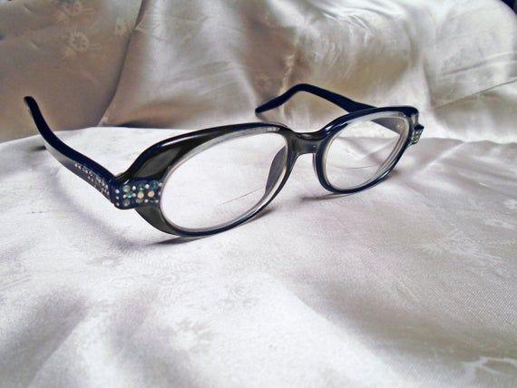 Vintage Rhinestone Glasses Costume Cosplay Stage 60s Geek Girl Retro Black Oval Eyeglass Frames – Products