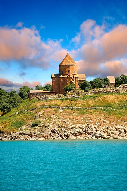 10th century Armenian Orthodox Cathedral of the Holy Cross on Akdamar Island, Lake Van, Turkey, uncredited photo.