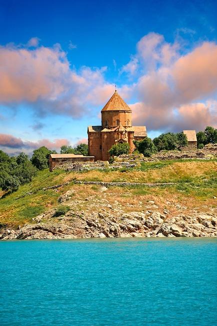 10th century Armenian Orthodox Cathedral of the Holy Cross on Akdamar Island, Lake Van Turkey