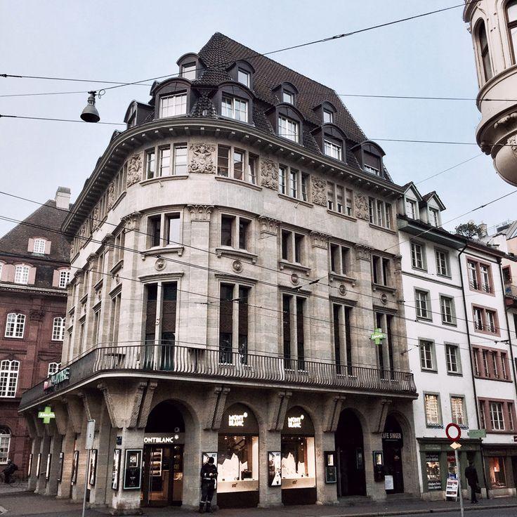 basel switzerland europe winter architecture grandeur facades street view