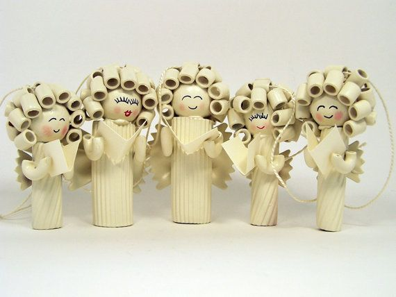 Items similar to Noodle Angel Family Holiday Ornaments on Etsy