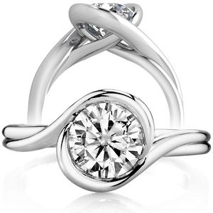 Simple Elegant Entwined Love: Semi-Bezel Round Brilliant Moissanite Bypass Solitaire $909.00=14K WhiteGold 1.5C Diamond ♥