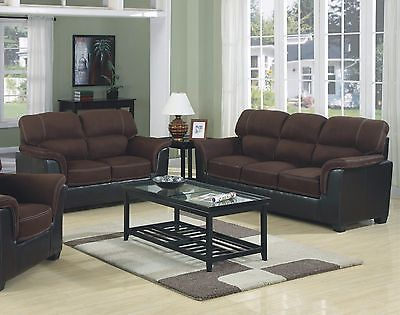 Brand New Microfiber Two-tone Sofa & Loveseat 2pc Sofa Set Living Room Furniture