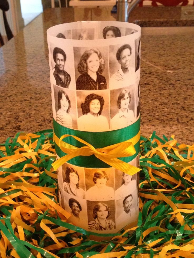 First table centerpiece for class reunion done!  Using photos from junior year since senior photos will be on name tags & in slideshow.