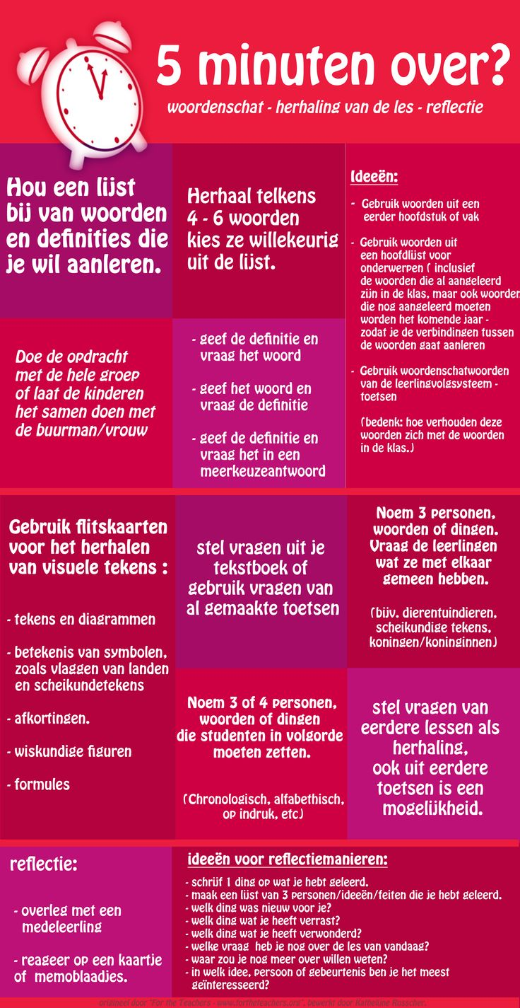 5 minuten over? woordenschat - herhaling - reflectie Nederlandse vertaling. origineel is van For The Teachers.