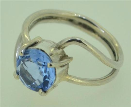 Handcrafted Jewelry With Soul Blue Topaz 925 Sterling Silver Ring Size O