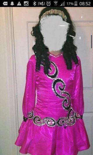 Elegant Pink Siopa Rince Irish Dance Dress Solo Costume For Sale