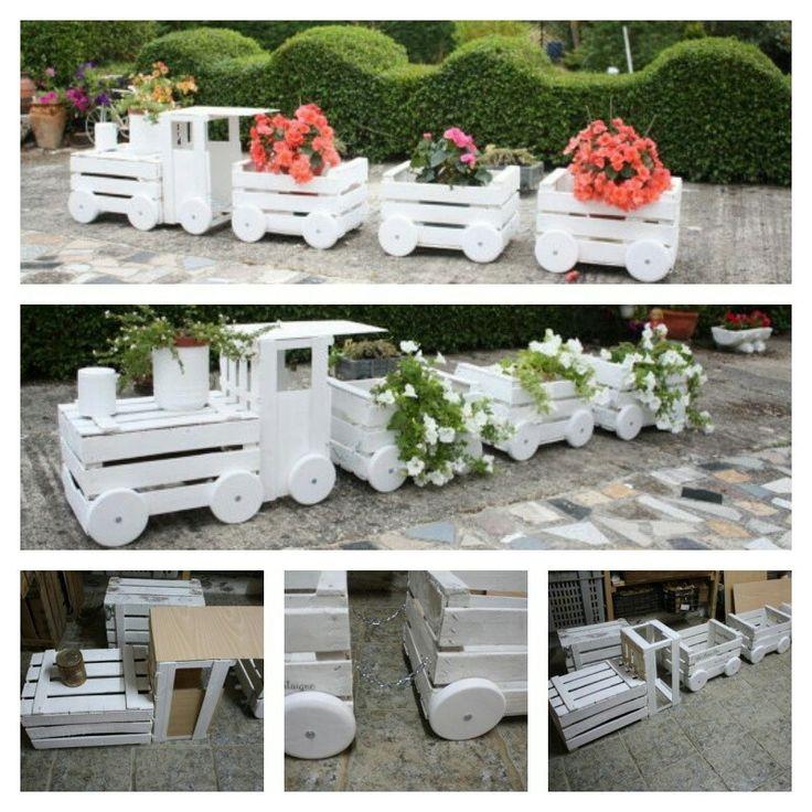 DIY - Garden Art Train Planters