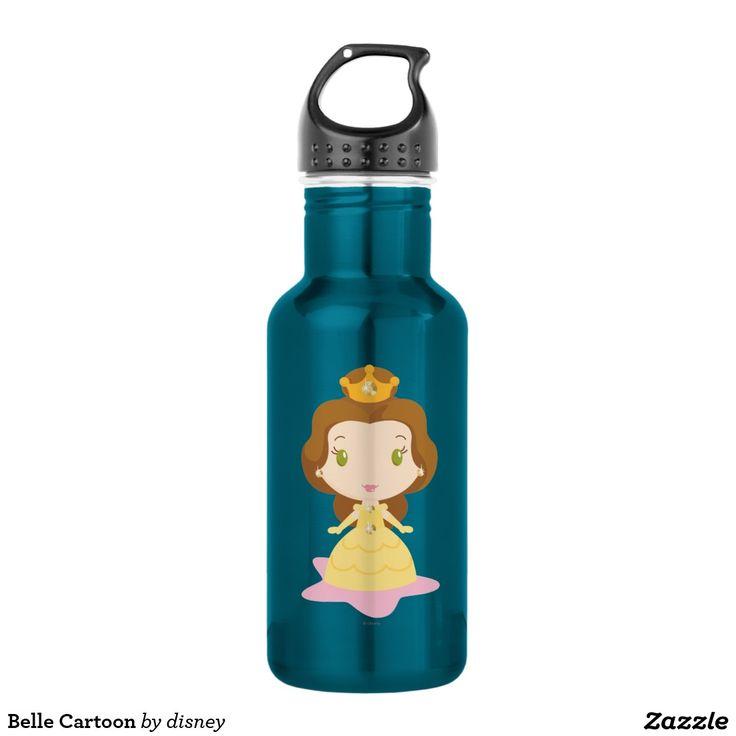 Belle Cartoon. Botella de Agua, Water Bottle. Producto disponible en tienda Zazzle. Product available in Zazzle store. Regalos, Gifts. #bottle #botella