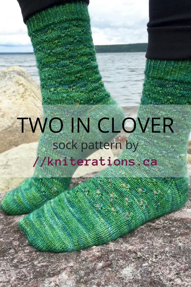 TWO IN CLOVER lace sock pattern by Allison O'Mahony @kniterations.ca