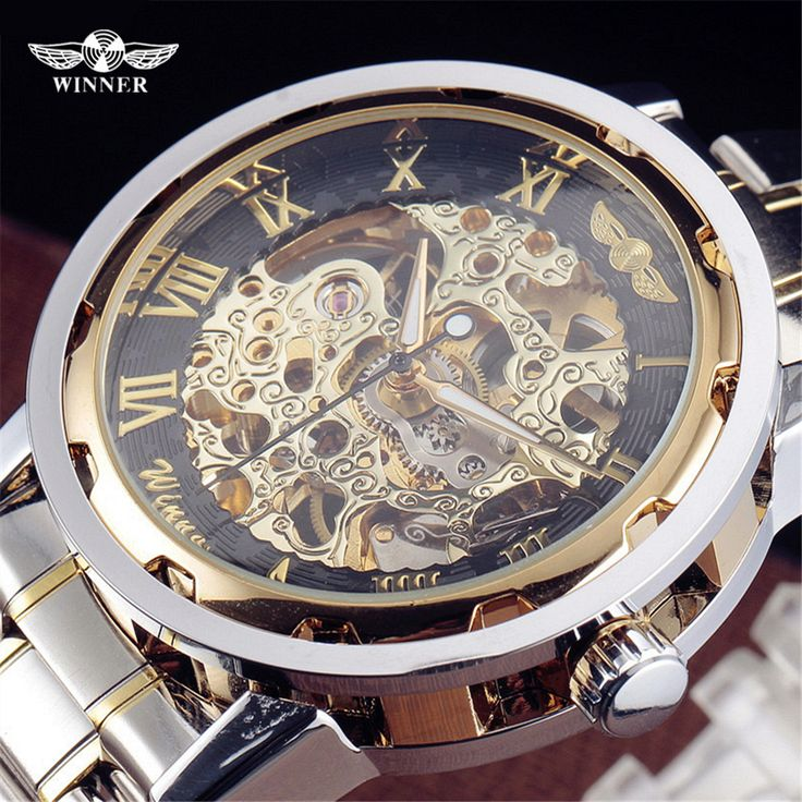 Победитель Luxury Brand Спорт Мужчины Автоматические Часы Скелет Механические Военные Часы Мужчины Золото Серебро полный Нержавеющей Стали Часы #shoes, #jewelry, #women, #men, #hats, #watches, #belts