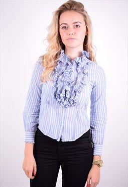 Ralph Lauren Womens Vintage Blouse Shirt Size 12 Blue 90's