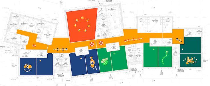 Sepänkannaksen päiväkodin värisuunnitelma ja kuvitukset - Suunnittelutoimisto BOTH Oy