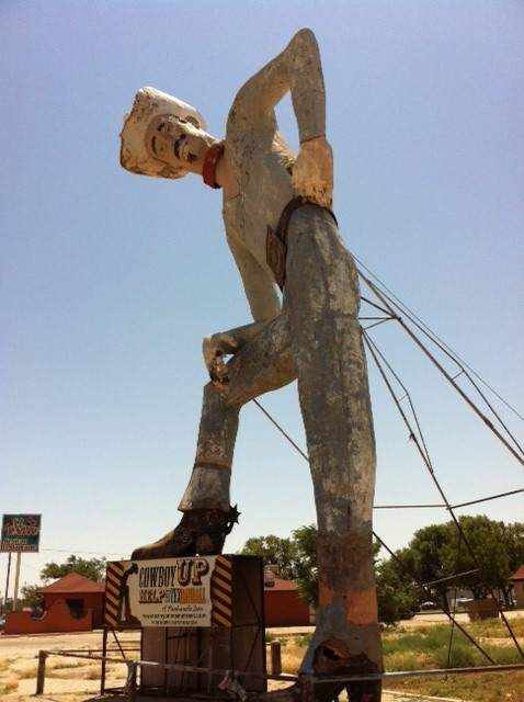 """Tex Randall? Built in Canyon (just south of Amarillo) in 1959 by industrial arts teacher Harry Wheeler, this """"Tex"""" is 47 feet tall, made of rebar, wire mesh and concrete, and weighs 7 tons."""