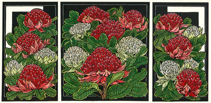 Waratah Tryptich Fine Art Linocut