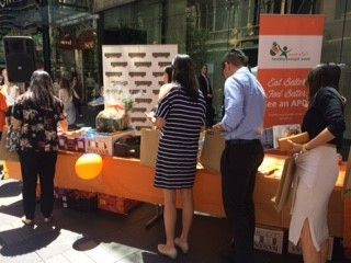 Almond and fruit samples at the DAA AHWW launch event in Pitt St Mall