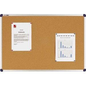 Tablero de anuncios NOBO de corcho y con marco de aluminio.  De gran calidad y con cubresquinas donde se fija.  Medidas: 60 x 90 cm.