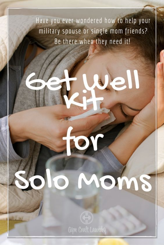 One of the hardest times for a mom whose husband is deployed is when SHE gets sick. Here is a suggestion of some thoughtful things to leave at her doorstep. This get well kit for solo moms can also apply to single moms. It's hard to get to the store with young kids in tow when you are already under the weather and military spouses are often far away from their own families.