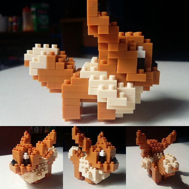 Finally done!  Ps = this is why i love playing building block (it's micro size)  #pokemon#evy#eievui#diy#nanoblock#kawada#diypokemon#eevee