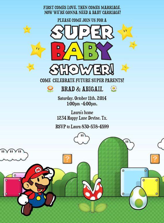 Baby Shower Video Ideas Part - 15: Mario Birthday Baby Shower BOY Invitation Invite Printable File Nintendo  Old Mario Brothers
