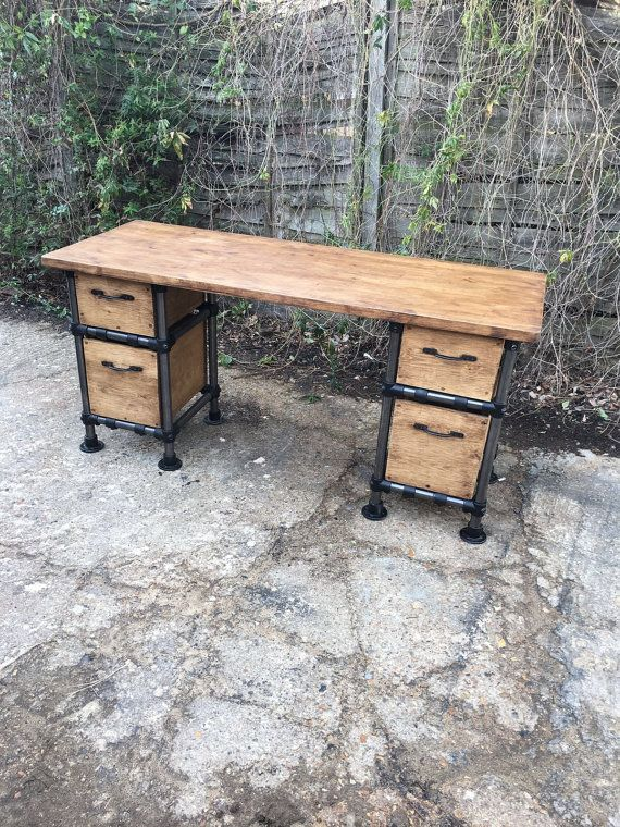 Vintage industrial steampunk gas pipe desk with by - Mobiliario vintage industrial ...