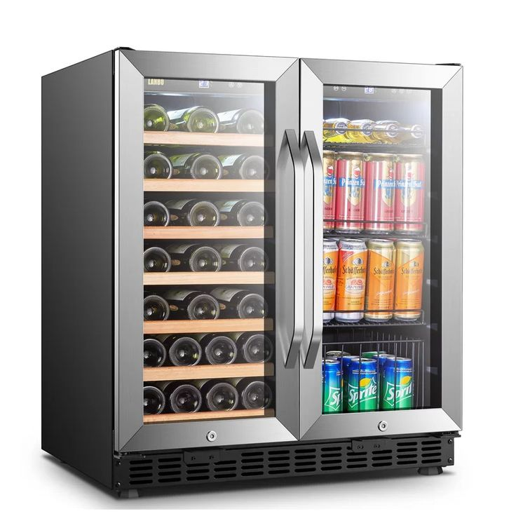 33 bottle and 70 can dual zone freestanding wine and