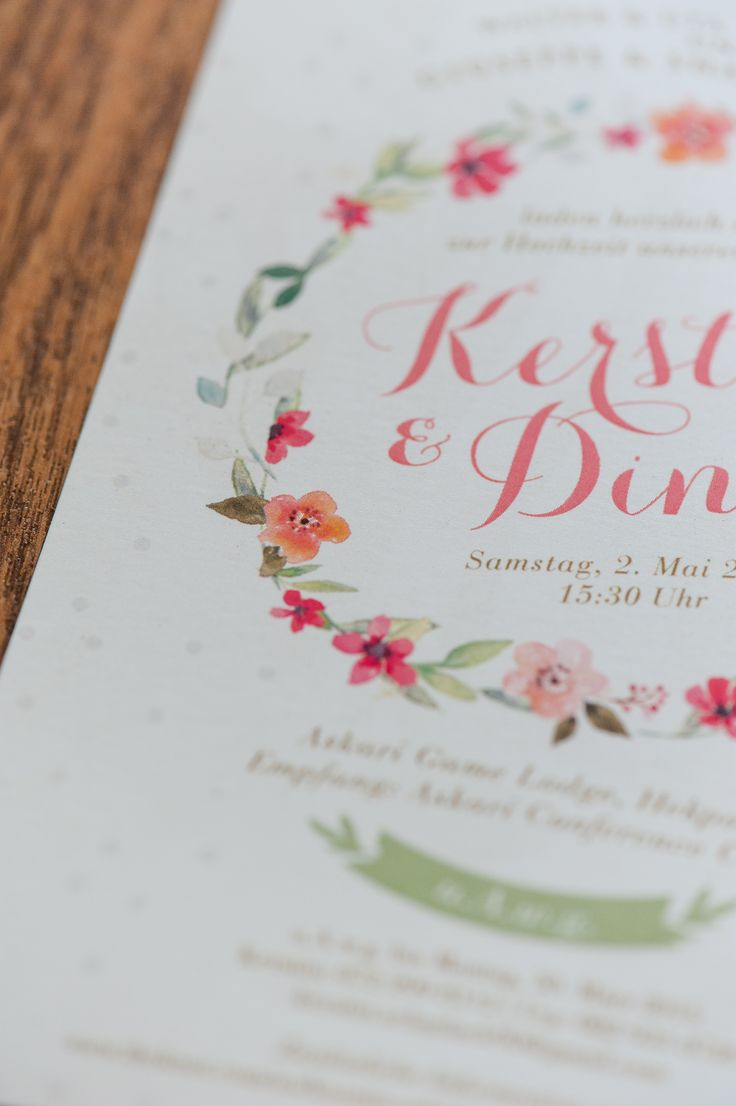 Floral watercolour wreath wedding invitation card www.creativeheroes.co.za