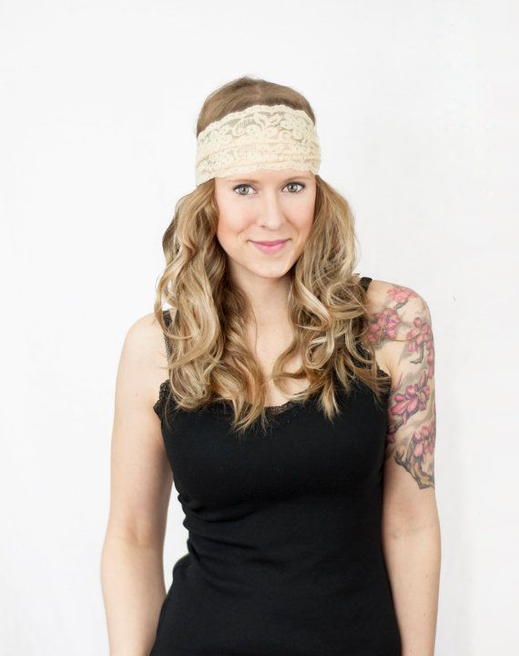 Ivory Lace Headband Wide Floral Off White Cream by ForgottenCotton, $15.00 Crossfit Yoga Bridesmaid Wedding Floral Hair Wrap Stretch