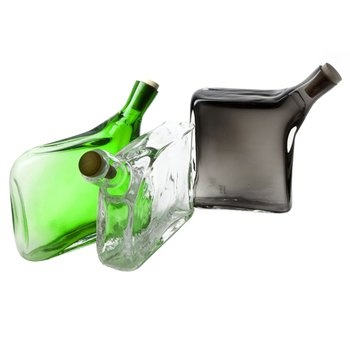 Hand-blown Glass Flask. This edgy and striking glass flask by world renowned glass studio Esque will make an excellent gift for a very lucky guy.  $400.00