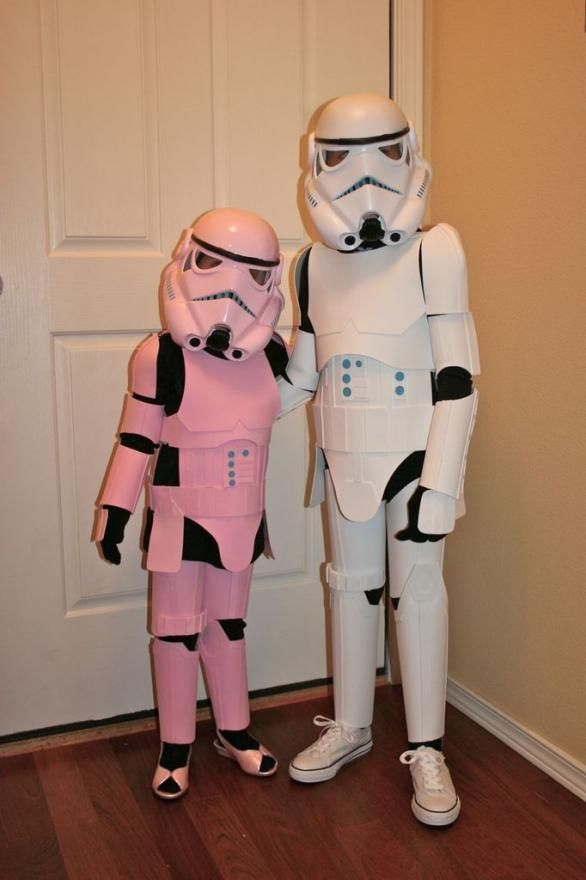 Pink and white Stormtrooper Costumes for kids.