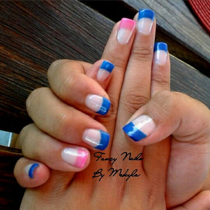 Blue and pink tips with Gel Overlay