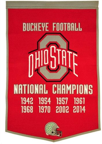 Ohio State Buckeyes Winning Streak Dynasty Banner - Large 38x24 banner that lists OSU football National Championship years - Embroidery and applique detail on wool blend felt