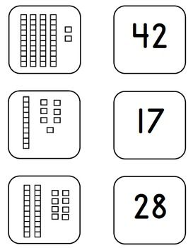 Memory Matching Game Place Value Base 10 Blocks and Cubes-