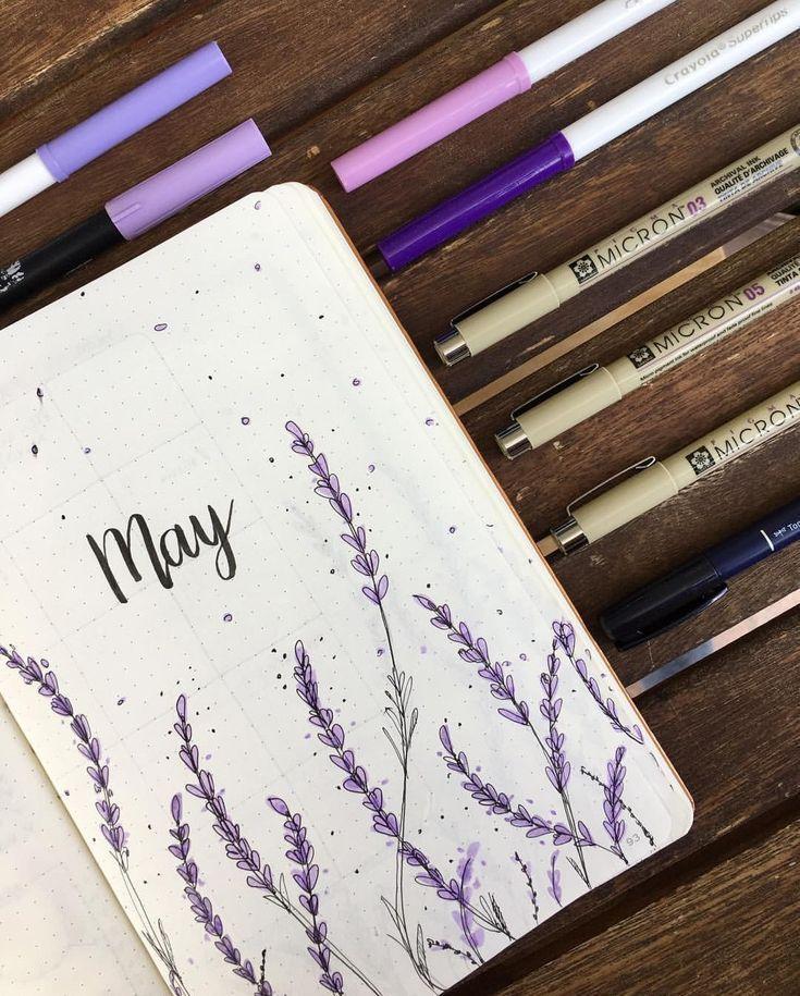 Bullet Journal Monthly Cover May Lavender Flowers Monatscover Monatsübersicht Lavendel Blumen –