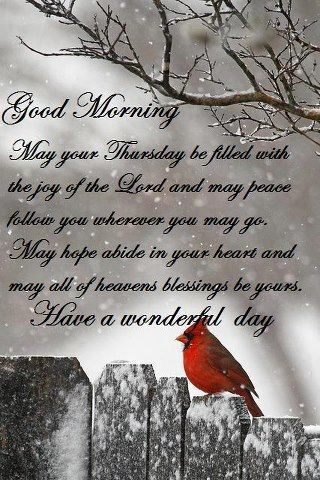 Good morning Thursday. Good morning girls! Have a wonderful day, study hard, help each other out, and have some time with God. Love you girls! God Bless, Shania.