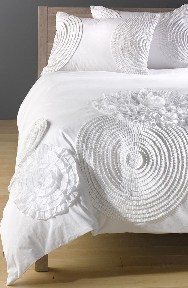 Nordstrom At Home Dahlia Duvet Cover King Size White Cotton Voile ...