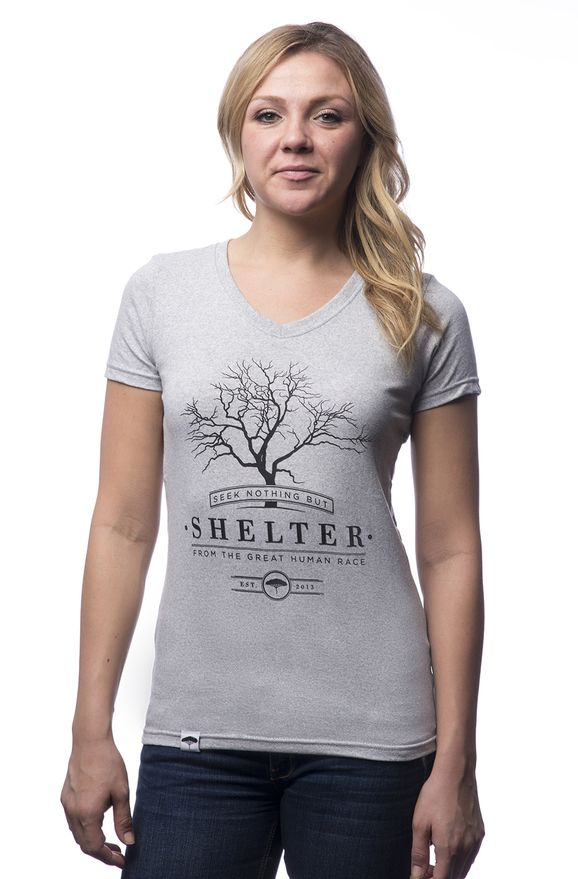 "The perfect #ecotee to wear under open cardigans and sweaters this winter -> ""GARRY OAK"" WOMEN'S V-NECK. Part proceeds support Nature Conservancy of Canada. Made of 50% Recycled Cotton & 50% Recycled Polyester. Produced ethically in North America."