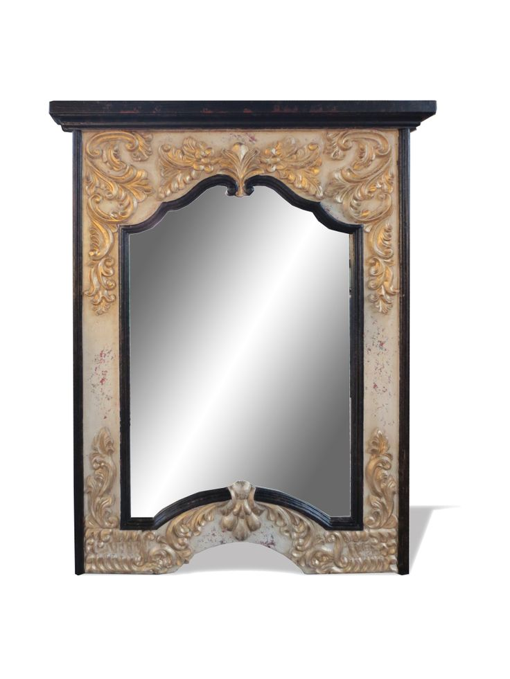 A perfect blend of traditional and French style and design. This hand crafted mirror is accented with hand carved scrolls and hand painted gold and ebony accents. Visit our website to see more alluring Old World furnishings and decor!