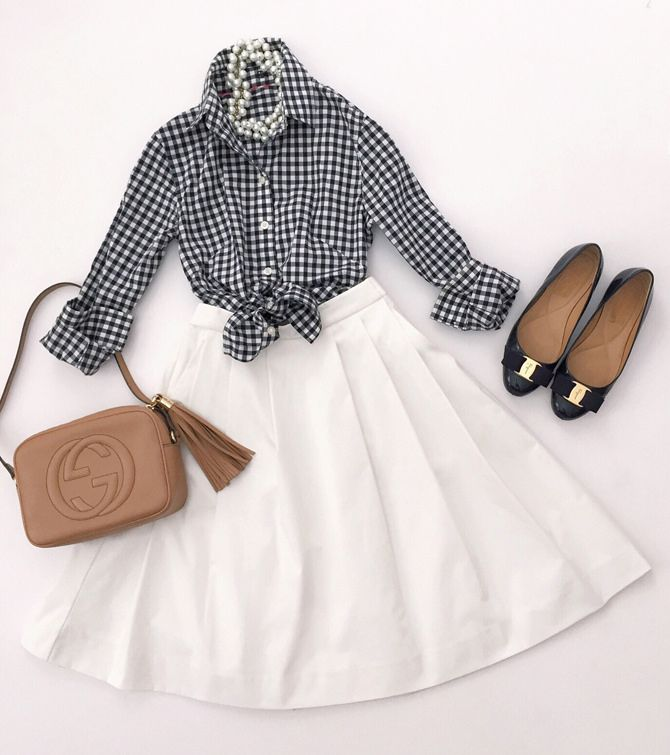 preppy classic spring - summer outfit with gingham shirt, white skirt, ferragamo bow flats, gucci soho disco bog // via extra petite style blog