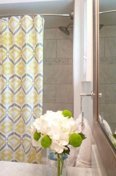 Main Bath, marble, tiled shower, west elm curtain, apple green, button mums, lime green, hydrangea