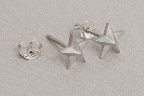 Tiny silver studs Silver star earrings 925 sterling silver Everyday studs