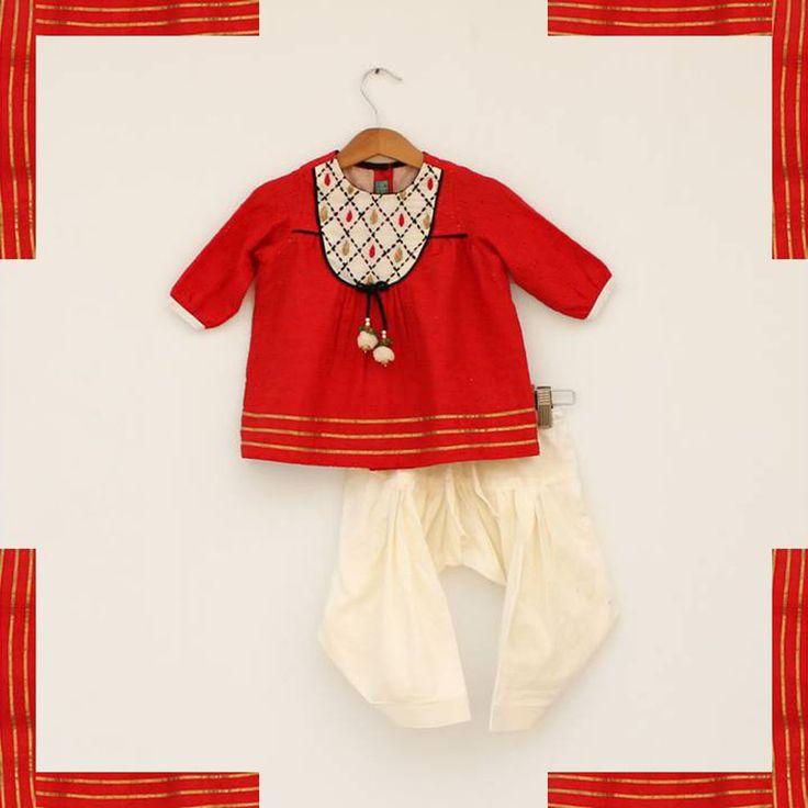 Red Schiffaly Suit. #Stylemylo #kids #onlineshopping #kidswear #designerkidswear #rakhi #ethnic #babygirls #babyboys