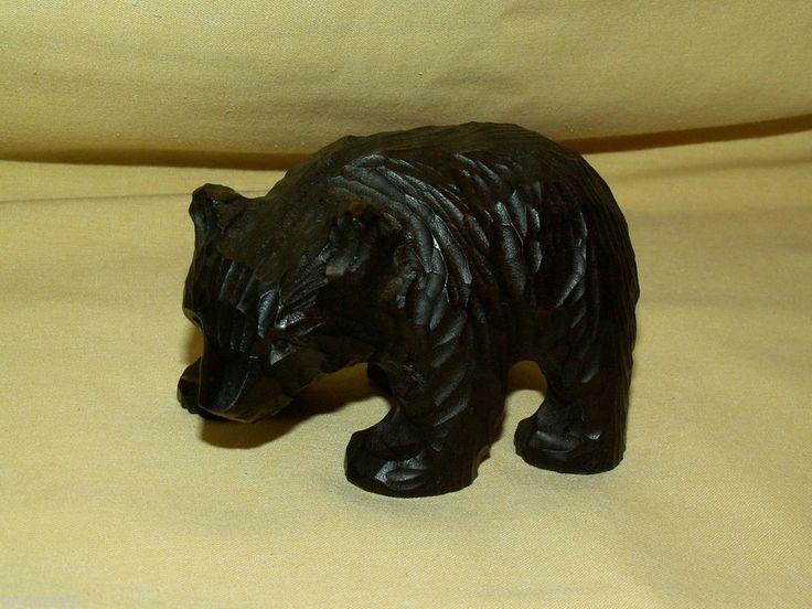 wood ainu hand carved tradition black bear