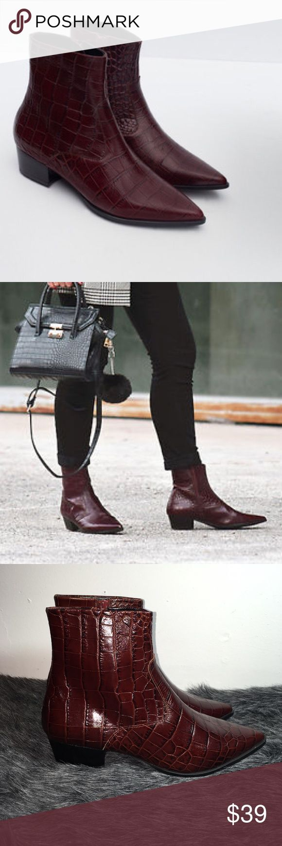 Women's Burgundy Croc Print Leather Ankle Boots 😍 ZARA MOCK CROC PRINT LEATHER ANKLE BOOTS. Leather ankle boots. Embossed detail. Pointed toe. Inside zip. Square heel. Heel height of 3,8 cm. 😍 Zara Shoes