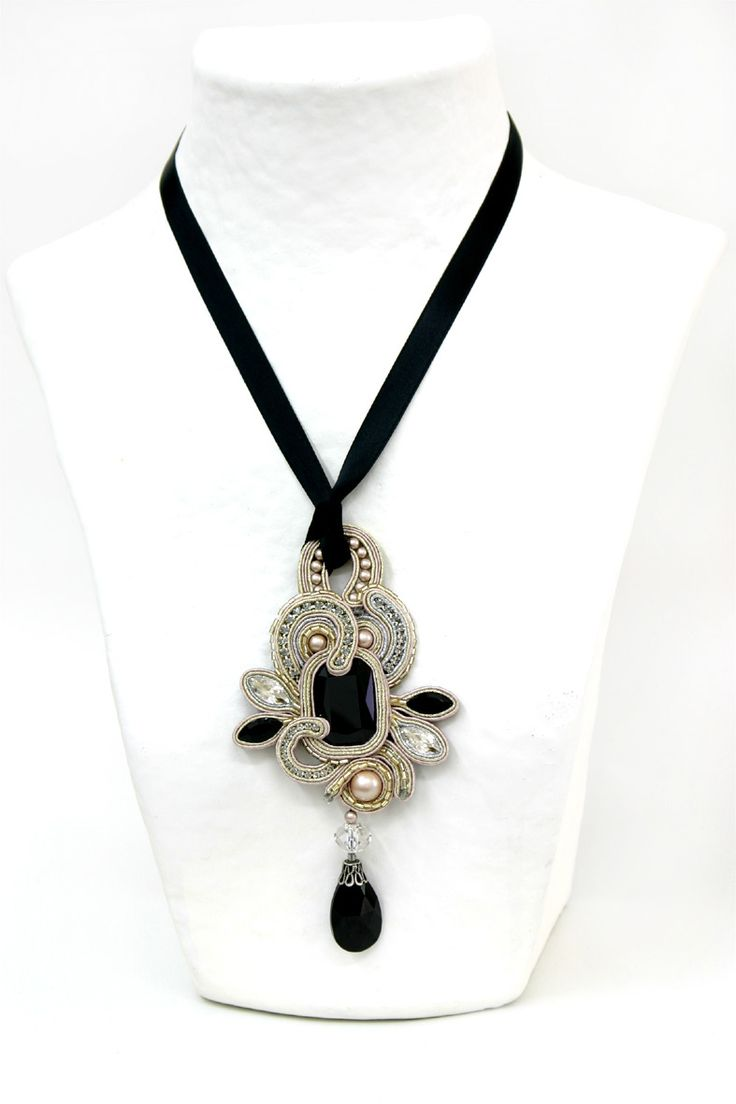 Beautiful black & white Soutache necklace : Desiree