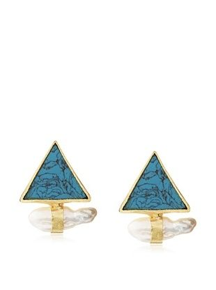 65% OFF Saachi Turquoise Aztec & Pearl Stud Earrings