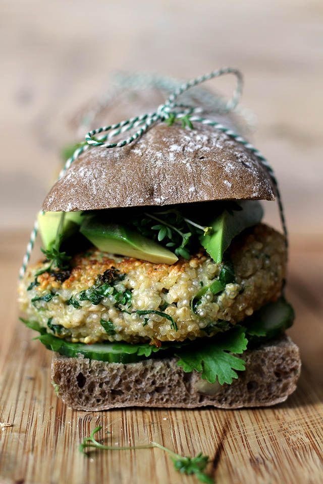 kale quinoa burgers with goat cheese and avocado