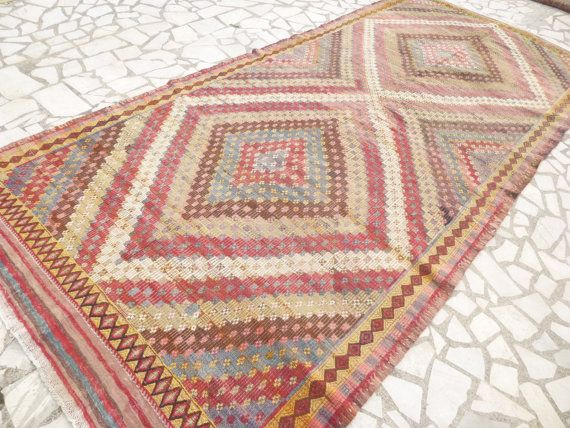 Colorful Kilim Area Rug Red Yellow Blue and Pink by SophiesBazaar, $785.00